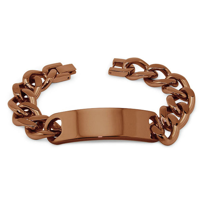 Brown Stainless Steel Curb Chain ID Style Link Bracelet - Tioneer