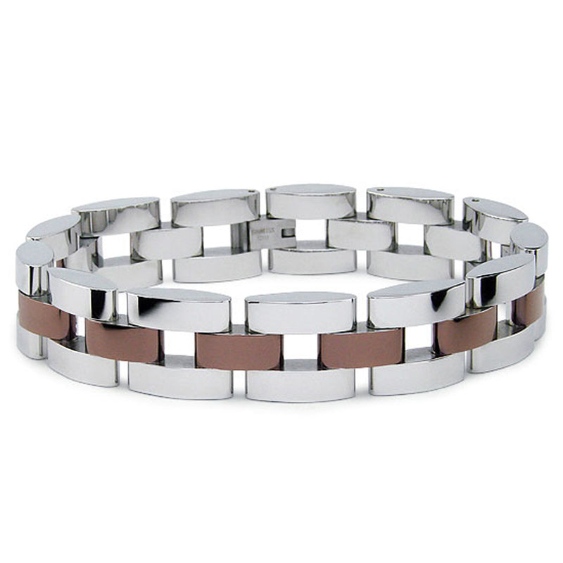 Two Tone Brown Stainless Steel Link Bracelet - Tioneer
