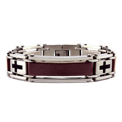 Two-Tone Stainless Steel Cross Link Biker Bracelet - Tioneer
