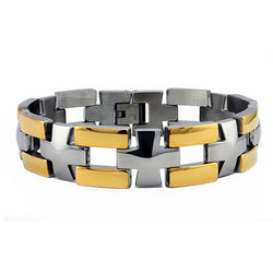 Two-Tone Stainless Steel Gold Plated Cross Link Biker Bracelet - Tioneer