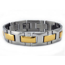 Two-Tone Stainless Steel Gold Plated Cross Link Bracelet - Tioneer