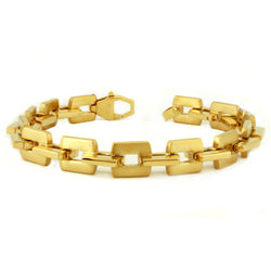 Gold Plated Stainless Steel Open Square Link Bracelet - Tioneer