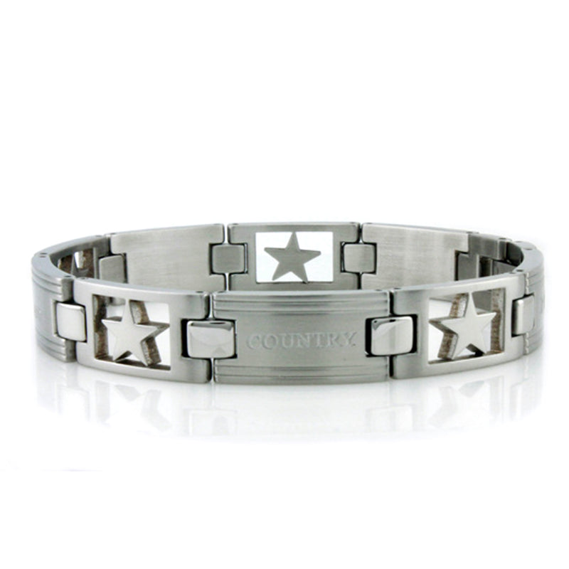 Stainless Steel All Star Country Patriot Link Bracelet - Tioneer