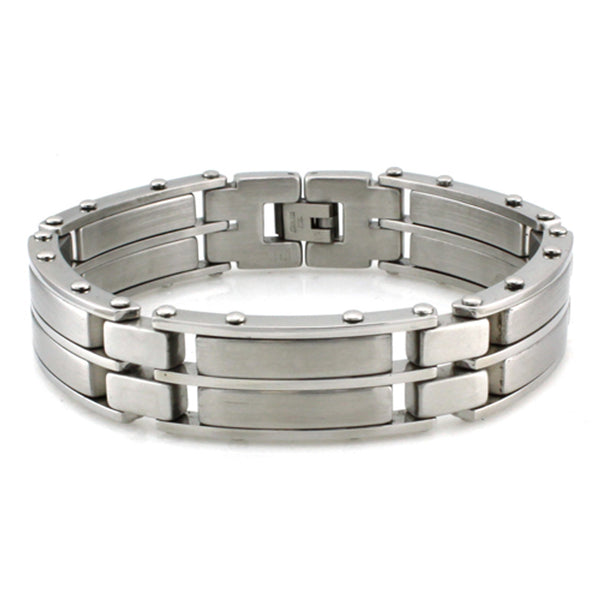 Stainless Steel Double Layered Wide Link Bracelet - Tioneer