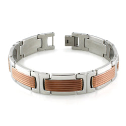 Two-Tone Stainless Steel Brown Grooved Link Bracelet - Tioneer