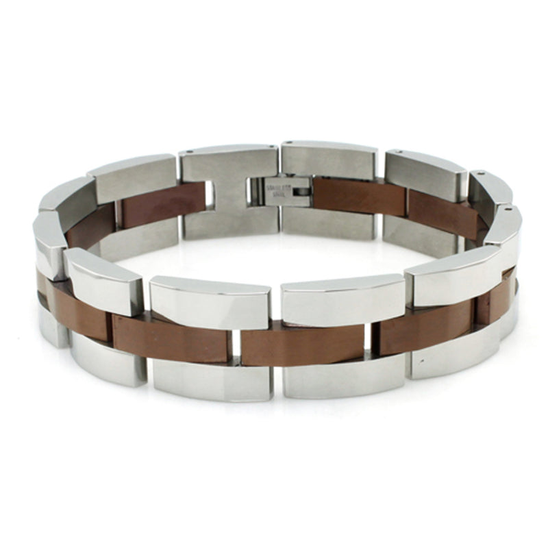 Two-Tone Brown Stainless Steel Beveled Link Bracelet - Tioneer
