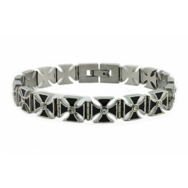 Stainless Steel Iron Cross Link Biker Bracelet - Tioneer