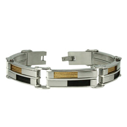 Three-Tone Stainless Steel Cable Inlay Link Bracelet - Tioneer