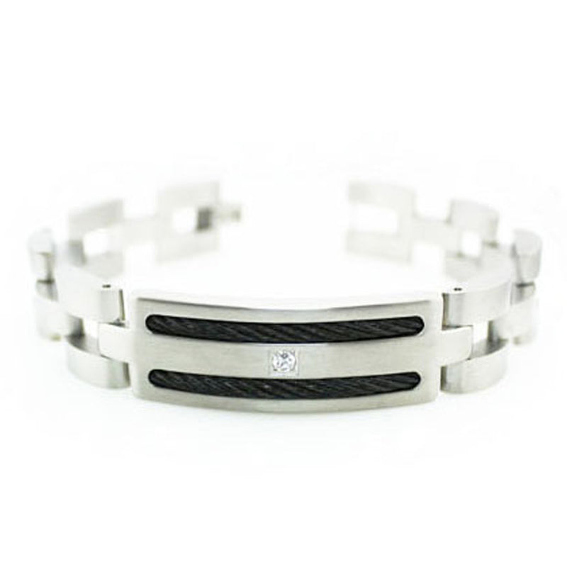 Stainless Steel Cubic Zirconia Cable Inlay ID Style Link Bracelet - Tioneer