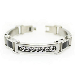 Stainless Steel Carbon Fiber Curb Chain Inlay ID Style Link Bracelet - Tioneer