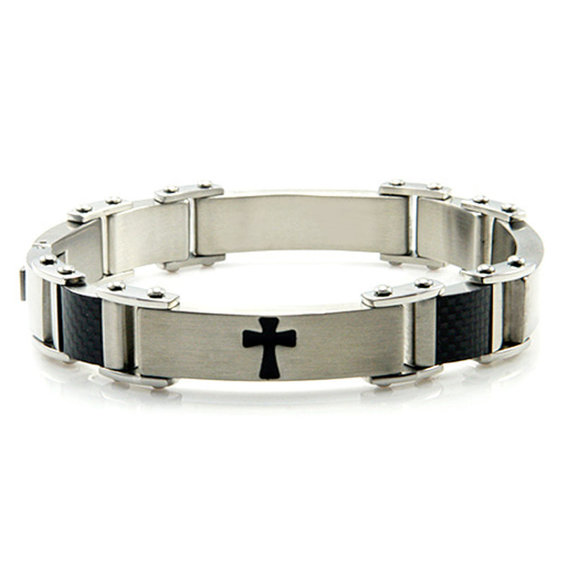 Two-Tone Stainless Steel Biker Cross Link Bracelet - Tioneer