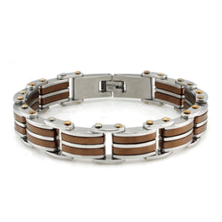 Two-Tone Stainless Steel Brown Link Bracelet - Tioneer