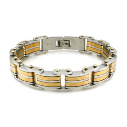 Two-Tone Stainless Steel Gold Link Bracelet - Tioneer
