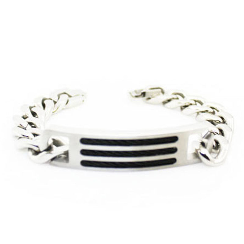 Stainless Steel Curb Chain ID Style Link Bracelet - Tioneer