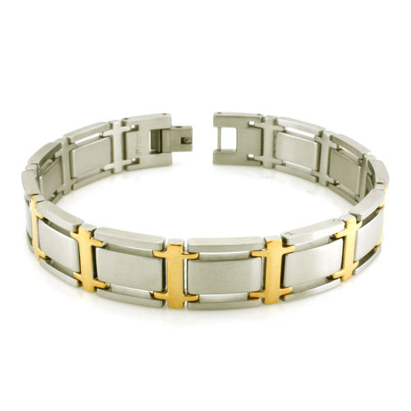 Two-Tone Stainless Steel Gold Plated Link Bracelet - Tioneer