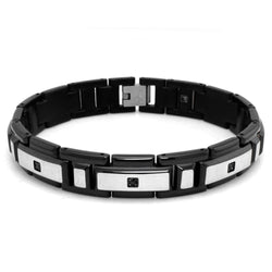 Two-Tone Stainless Steel Black Cubic Zirconia Gents Link Bracelet - Tioneer