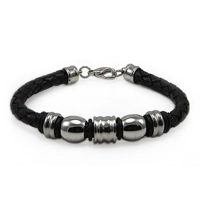 Stainless Steel Black Leather Rope Bead Bracelet - Tioneer