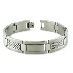Stainless Steel Cubic Zirconia Lateral Groove Link Bracelet - Tioneer