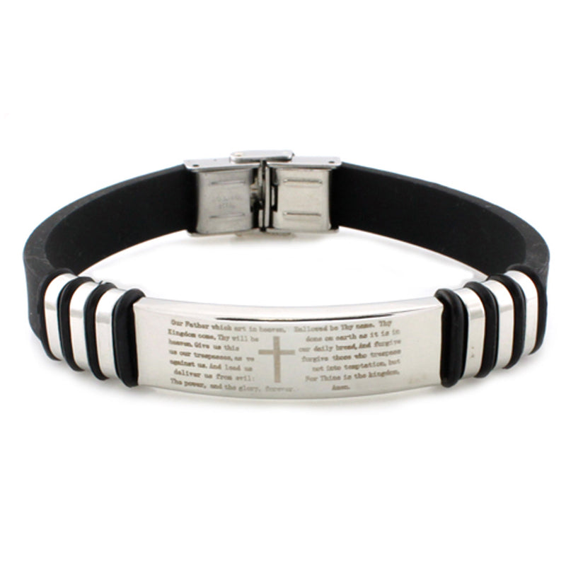 Stainless Steel Lord's Prayer ID Style Black Rubber Bracelet - Tioneer
