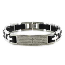 Stainless Steel Lord's Prayer Rubber Inlay Link Biker Bracelet - Tioneer