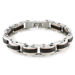 Three-Tone Stainless Steel Black Center Strip Link Bracelet - Tioneer