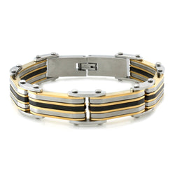 Three-Tone Stainless Steel Layered Link Bracelet - Tioneer