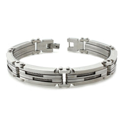 Stainless Steel Dual Cable Inlay Link Bracelet - Tioneer