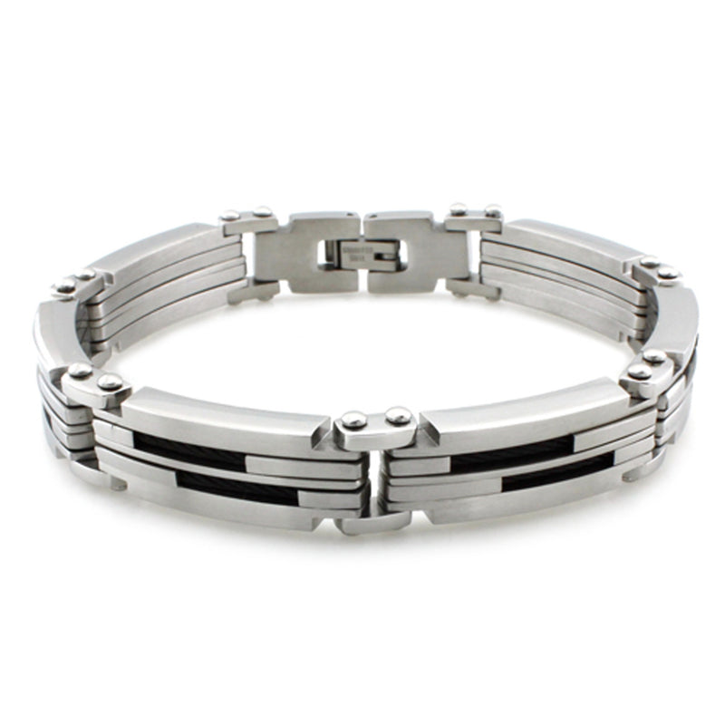 Stainless Steel Dual Black Cable Inlay Link Bracelet - Tioneer