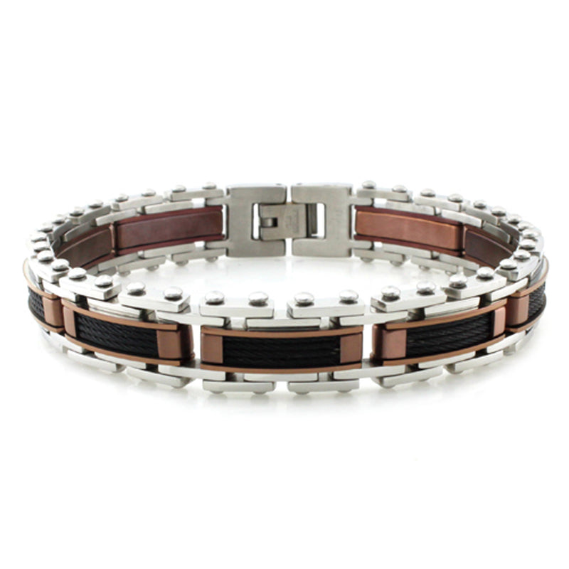 Three-Tone Stainless Steel Cable Inlay Bracelet - Tioneer