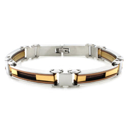 Three-Tone Stainless Steel Cable Inlay Biker Link Bracelet - Tioneer