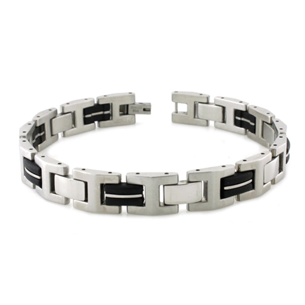 Two-Tone Stainless Steel Rubber Inlay Beveled Link Bracelet - Tioneer