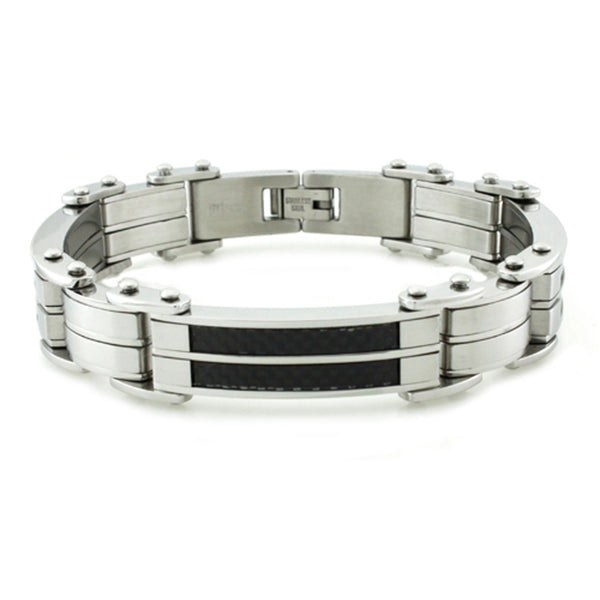 Stainless Steel Black Carbon Fiber Inlay Link Bracelet - Tioneer