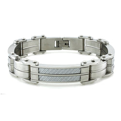 Stainless Steel White Carbon Fiber Inlay Link Bracelet - Tioneer
