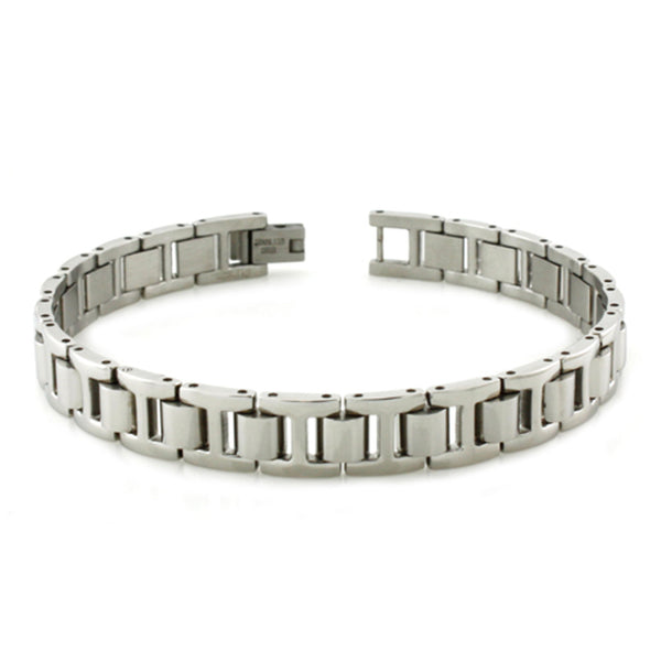 Stainless Steel Classic Half-Dome Link Bracelet - Tioneer