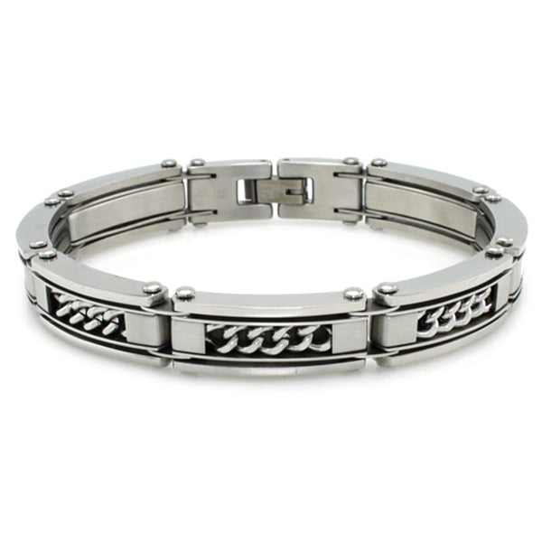 Stainless Steel Curb Chain Inlay Biker Link Bracelet - Tioneer