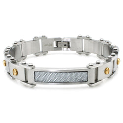 Stainless Steel White Carbon Fiber Gold Plated Screws Link Bracelet - Tioneer