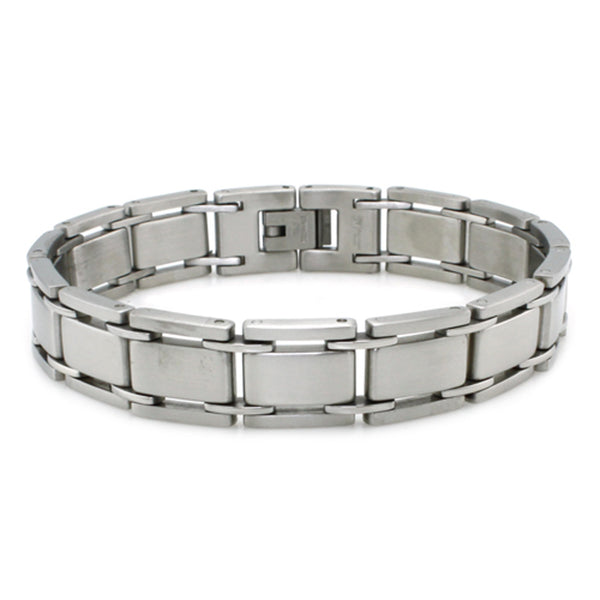 Stainless Steel Satin Finish Link Bracelet - Tioneer