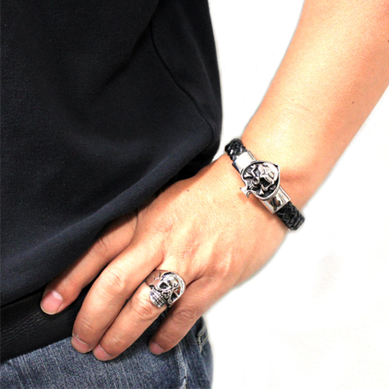 Stainless Steel Skull of Spades Leather Rope Biker Bracelet - Tioneer
