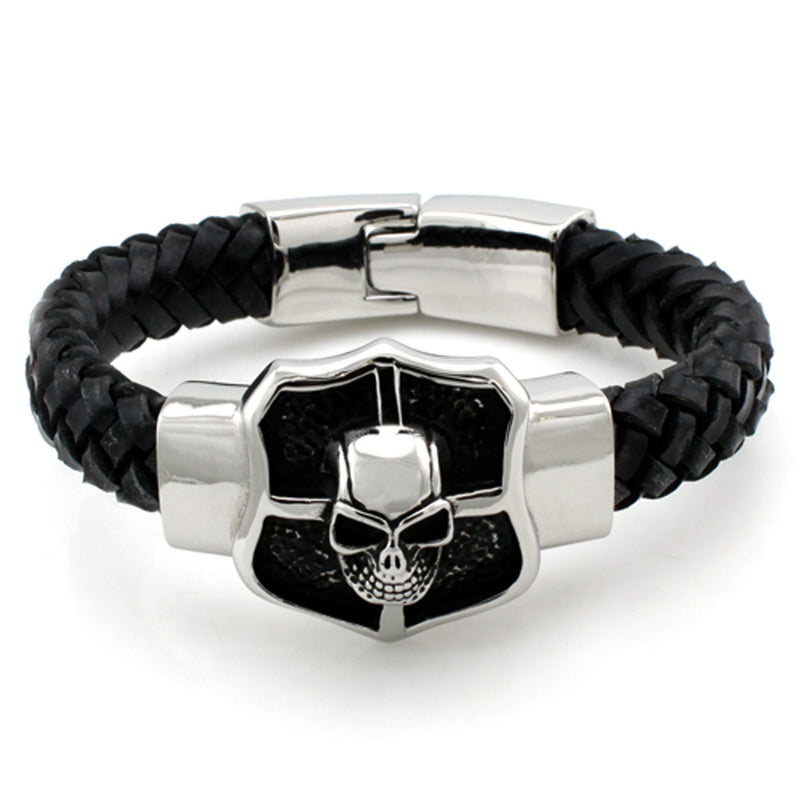 Stainless Steel Skull Shield Leather Rope Biker Bracelet - Tioneer