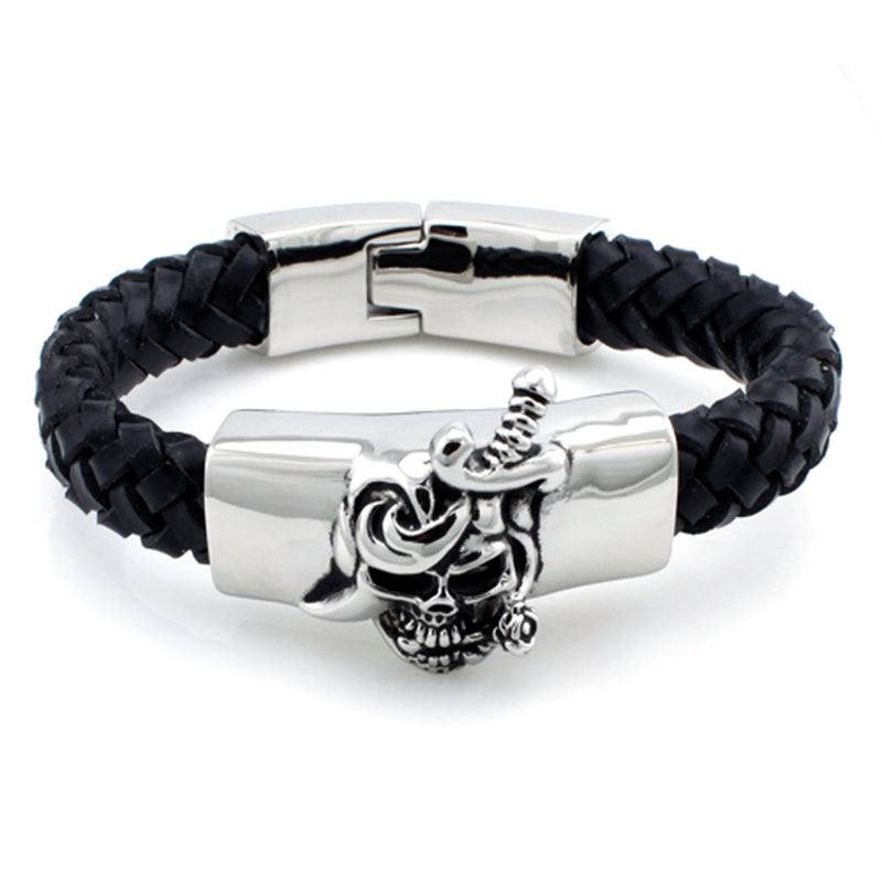 Stainless Steel Pirate Skull Leather Rope Biker Bracelet - Tioneer