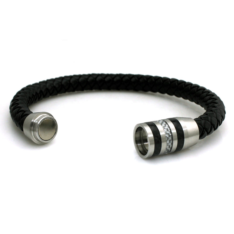 Stainless Steel Black/White Carbon Fiber Magnetic Leather Bracelet - Tioneer