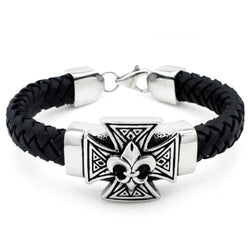 Stainless Steel Fleur De Lis Celtic Cross Leather Rope Biker Bracelet - Tioneer
