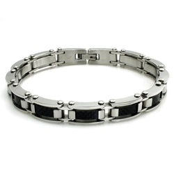 Stainless Steel Dome Black Carbon Fiber Inlay Link Bracelet - Tioneer
