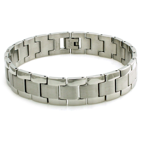 Stainless Steel Satin Center Link Bracelet - Tioneer