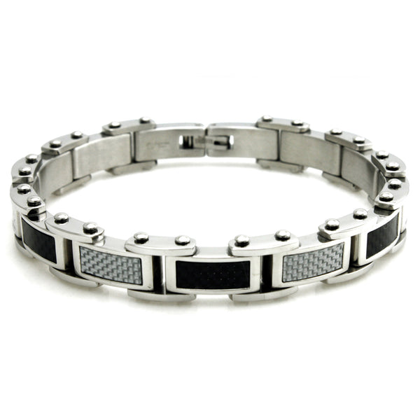 Stainless Steel Black/White Carbon Fiber Inlay Biker Link Bracelet - Tioneer