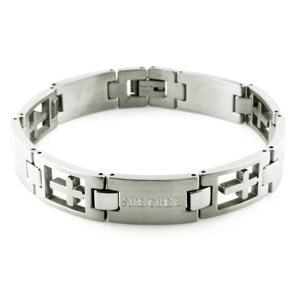 Stainless Steel Inspirational Cross Cut Link Bracelet - Tioneer
