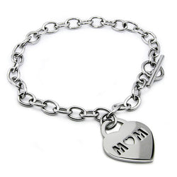 Stainless Steel Mom Cut-Out Heart Charm Toggle Bracelet - Tioneer
