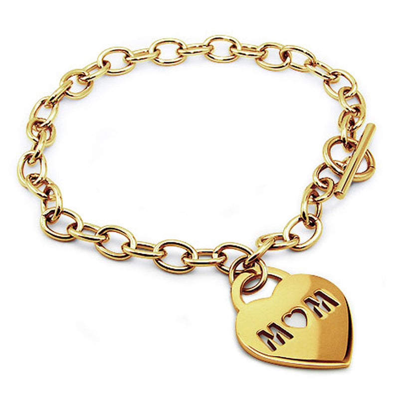 Gold Plated Stainless Steel Mom Cut-Out Heart Charm Toggle Bracelet - Tioneer