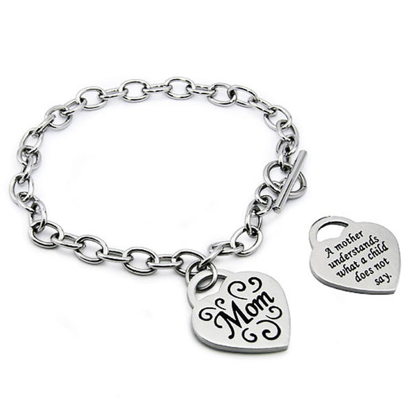 Stainless Steel Floral I Love Mom Heart Charm Toggle Bracelet - Tioneer