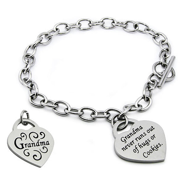 Stainless Steel Floral I Love Grandma Heart Charm Toggle Bracelet - Tioneer